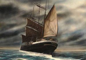 Laivamaalaus, laiva myrskyssä.